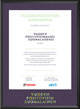Vuoden Positiivisin Suomalainen kunniakirja